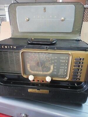 Vintage ZENITH H500 Trans-Oceanic AM Shortwave Tube Radio 5H40 with manual/book