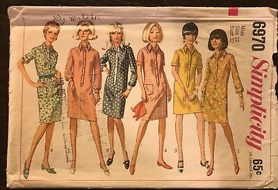 Vintage Simplicity 1967 Sewing Pattern #6970 Misses One-Piece Shirt-Dress SIze12