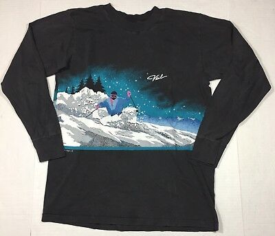 VTG 80's 1988 Vail Colorado Black Long Sleeve Double Sided T-Shirt Large Ski