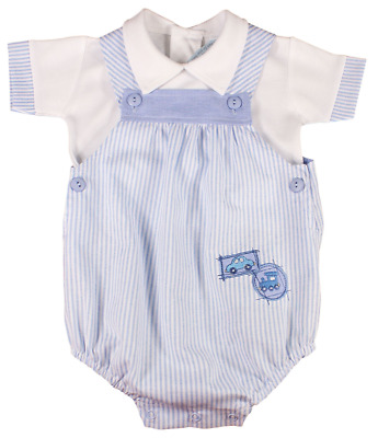 Baby boy dungaree romper suit top Spanish style cotton