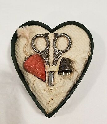 Vintage Sterling Silver Sewing Set Scissors thimble strawberry heart shape box