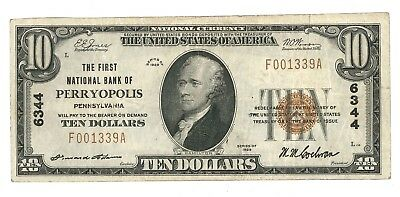 1929 First National Bank of Perryopolis, Pennsylvania Type 1 $10 Note, Ch. 6344