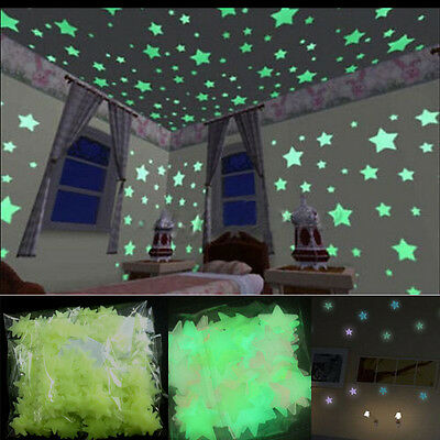 100 Wall Glow Dark Stars Stickers Bedroom Nursery Room Ceiling Decor Night Hot