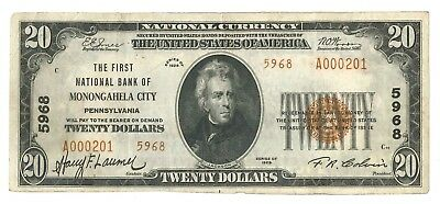 1929 First National Bank of Monongahela City, PA Type 2 $20 Note, Ch. 5968