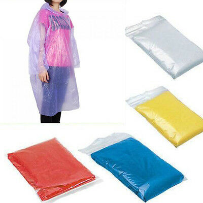 20xDisposable Adult Emergency Waterproof Rain Coat Poncho Hiking Camping Fishing
