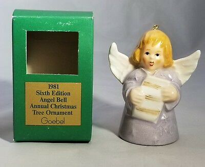 1981 Goebel ANGEL BELL CHRISTMAS ORNAMENT Purple New in Box 6th Edition