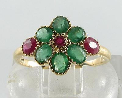 RARE COMBO 9CT 9k GOLD INDIAN RUBY & COLOMBIAN EMERALD CLUSTER RING FREE REIZE