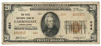 1929 First National Bank of Carbondale, Pennsylvania Type 2 $20 Note, Ch. 664
