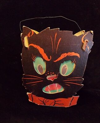 Antique Halloween 2 Sided Cat Face Lantern, Candy Container. Heavy cardboard