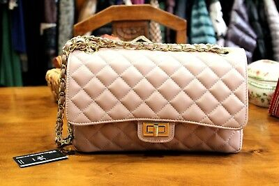 VERSACE 19.69 Women s 100% Leather Pink Quilted Handbag Free Shipping New w  Tags 3e1336d2f529a