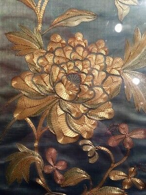 Pretty Chinese Antique Silk Embroidery 19th C Gold Silver Thread Peonies