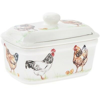 Country Life Hens Chickens Fine China Ceramic Lidded Butter Dish