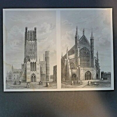 Kathedrale in Winchester ,Original Stahlstich,  19. Jhdt.