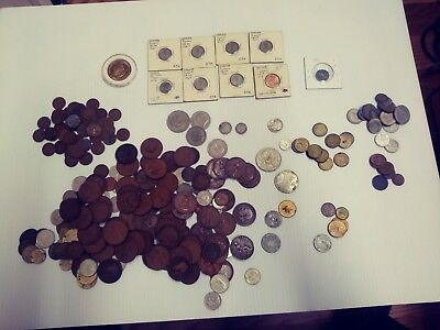 Huge Lot Of Coins And A Few Tokens Mixture Of US And Foreign Currency
