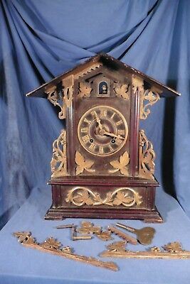 Antique Black Forest Fusee Shelf Cuckoo Clock Gordian Hettich Johne for Repair
