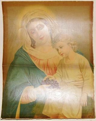 Mother & Child & Grapes Blessed Virgin Mary Rare Antique Holy Picture Oil Print