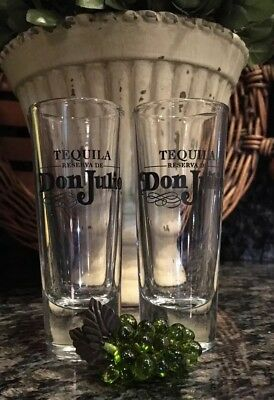 Tequila Reserva De DON JULIO Black Satin Etch Shot Glasses (2) PRISTINE!