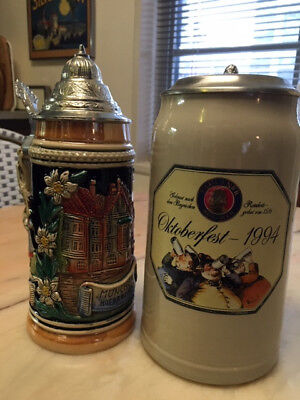 German steins, two Paulaner Oktoberfest 1994, Munchen Hofbrau-Haus beer tankards