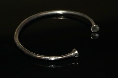 Beautiful Ancient Bronze Age solid Silver Bracelet. Wearable.