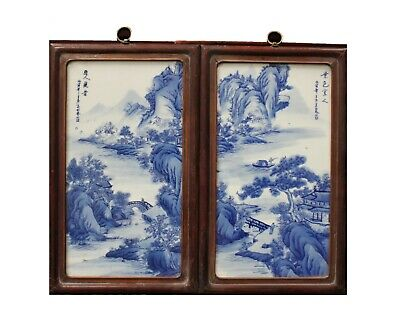A Pair of Chinese Hardwood Blue & White Porcelain Painting