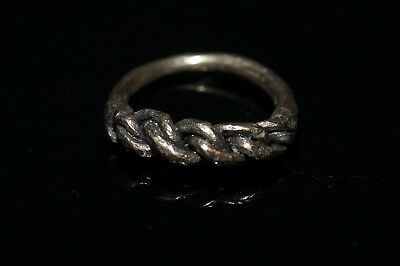 Beautiful Ancient Viking solid Silver Braided Finger Ring.