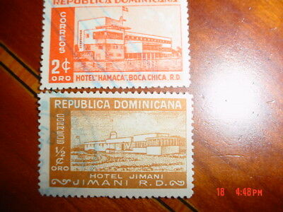 Dominican Republic 1950 (2) Used Stamps Hotel Jimani &hotel Mamaca Lightly Hinge