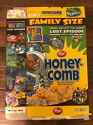 """2005 Vintage (Post) """"HONEY COMB"""" (TEEN TITANS GO!) Family Size Cereal Box, RARE!"""