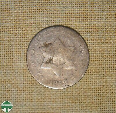 1852 - Three-Cent Silver Piece - About Good Details