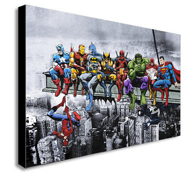 DC MARVEL SUPER HERO LUNCH ATOP SKYSCRAPER Canvas Framed Wall Art -Various sizes
