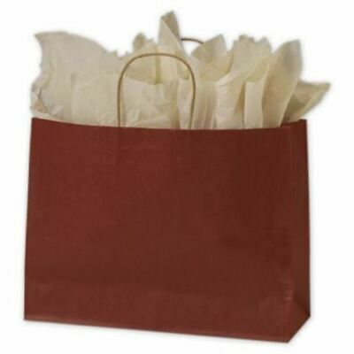 250 Brick Red Color on Kraft Shoppers Paper Bags Gift Merchandise 16 x 6 x 12 1/