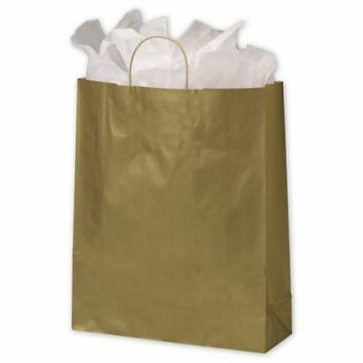 200 Gold Metallic on Kraft Queen Shoppers Paper Bags Gift Merchandise 16 x 6 x 1