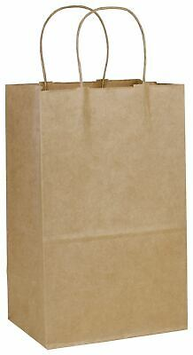 250 Recycled Kraft Paper Bags Shoppers Debbie 8 3/4 x 6 x 14""