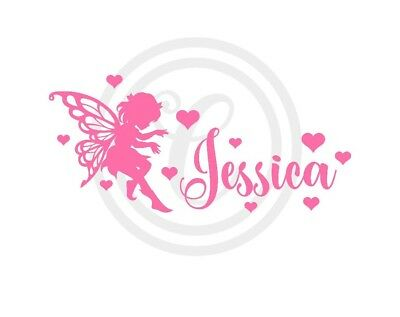Custom Personalised Name with Cute Fairy & Hearts Wall Art Vinyl Decal (#276)