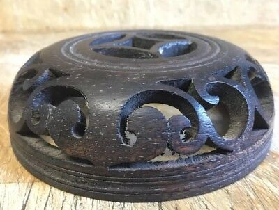 Unusual Antique Chinese Carved Pot / Vase Stand Cover ?