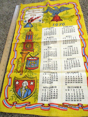 Vintage 1976 Calendar Towel Kitchen Linen Declaration Of