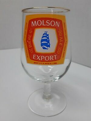 Molson Export 12 Oz Tulip Shaped Beer Collectors Glass