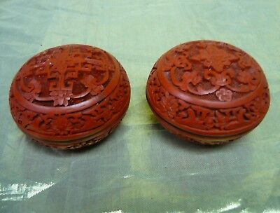 Pair of Vintage Chinese Carved Lacquer Cinnabar Trinket Boxes