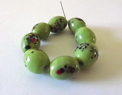 Green Speckled Oval Glass Beads
