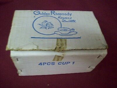 Vintage 1961  Kaysons Fine China GOLDEN RHAPSODY set of 4 NOS cups in org box!