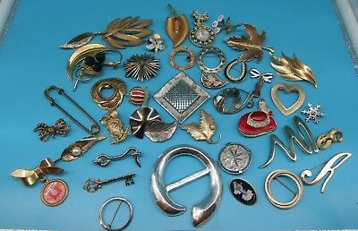 Vintage Pin Brooch Lot of 40 Costume Jewelry rhinestone Initial GREAT # 19.04