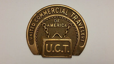 UNITED COMMERCIAL TRAVELERS U.C.T. Vintage Brass Sign
