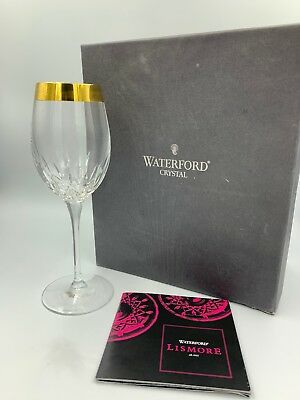 Waterford Lismore Essence Tall Wine Glass. Single Glass. Gold Band. With Box