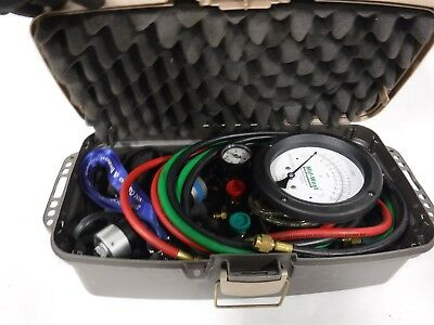 Used Nice Midwest Instruments 845-5 Back Flow Test Kit Case W/hoses/fittings 6F