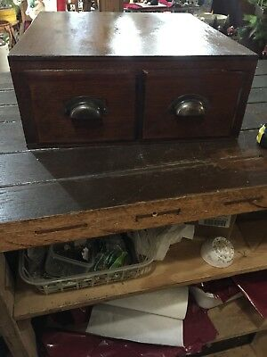 Vintage Older Small Wooden Two Drawer Cabinet. With Old Hardware