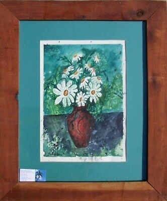 Framed flower daisies original watercolor painting art flowers daisy floral