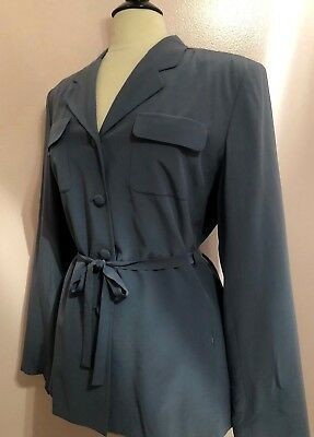 Patrick Collection Gorgeous Slate Blue 100% Silk Belted Blouse Dressy/career 14