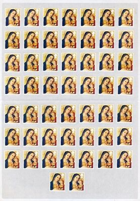 50 x 2ND CLASS UNFRANKED XMAS LETTER STAMPS WITH GUM ON EASY PEEL SHEET.