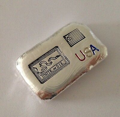 1oz hand poured silver bar 999 american rebel flag 1776 Unite or Die snake 31g