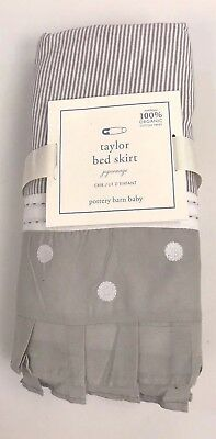 Pottery Barn Baby Taylor Bed Skirt Gray White Neutral Stripe Polka Dot New