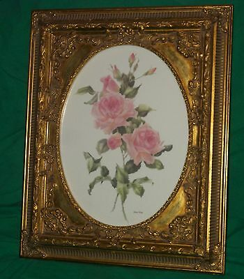 Caren Heine Watercolor Painting British Columbia Canada Pink Rose Listed Artist